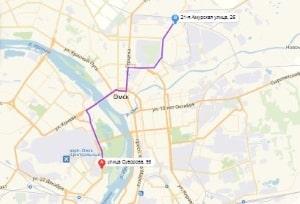 маршрут эвакуатора в омске: ул. Суворова 95 - 21-ая Амурская 26, буксир 24