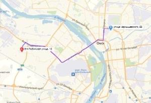 маршрут эвакуатора в омске: ул. Любинская 10 - ул. Чернышевского 69, буксир 24