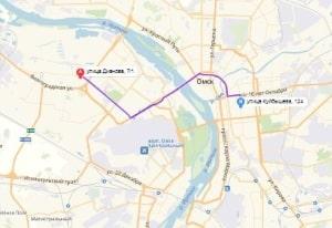 маршрут эвакуатора в омске: Ул. Дианова 7 - ул. Куйбышева 124, буксир 24