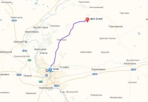 маршрут эвакуатора в омске: с. Сухое - г. Омск, буксир 24
